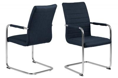 Designová jídelní židle Daitaro s opěrkami tmavomodrá / stříbrná