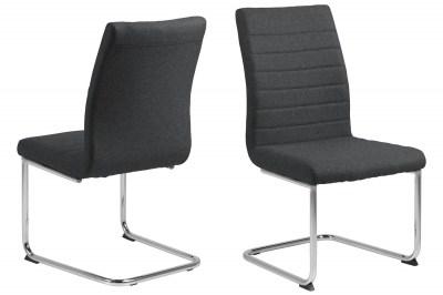Designová jídelní židle Daitaro tmavě šedá / stříbrná