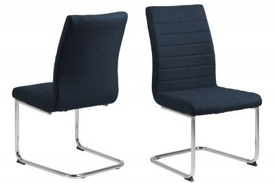 Designová jídelní židle Daitaro tmavomodrá / stříbrná