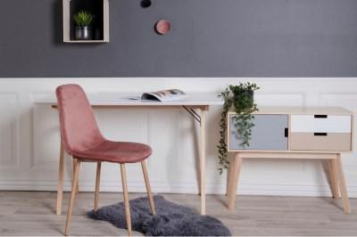 Designová jídelní židle Myla růžová - světlé nohy