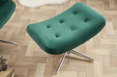 Designová otočná taburetka Joe - smaragdově zelený samet