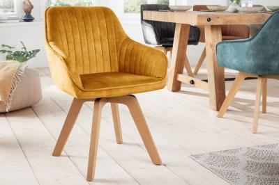 Designová otočná židle Gaura hořčicově-žlutý samet