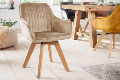 Designová otočná židle Gaura šampaňský samet