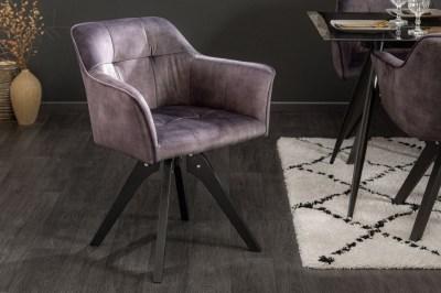 Designová otočná židle Giuliana tmavě šedý samet