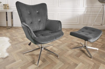 Designová otočná židle Joe - šedý samet