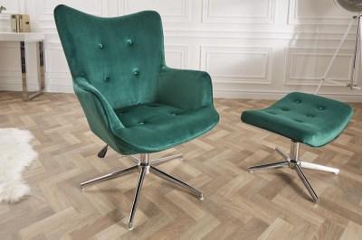 Designová otočná židle Joe - smaragdově zelený samet
