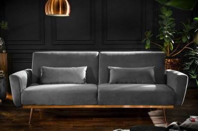 Designová rozkládací sedačka Blaine 208 cm šedý samet
