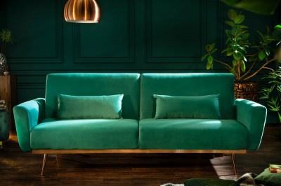 Designová rozkládací sedačka Blaine 208 cm smaragdový samet