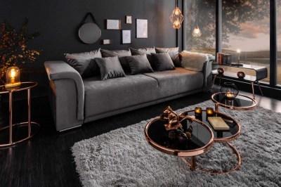 Designová sedačka Korbin 270 cm světle šedý samet