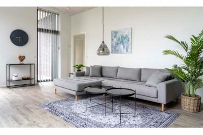 Designová sedačka s otomanem Ansley světle šedá - levá