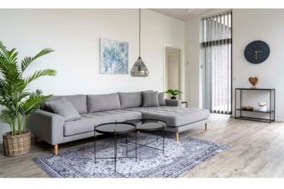 Designová sedačka s otomanem Ansley světle šedá - pravá