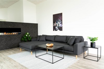 Designová sedačka s otomanem Ansley tmavě šedá - levá