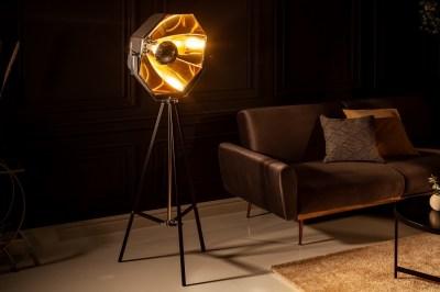 Designová stojanová lampa Damon černo-zlatá