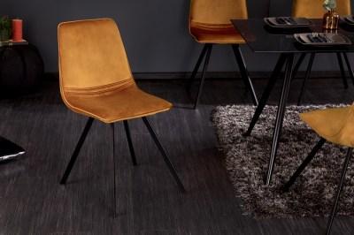 Designová stolička Rotterdam Retro hořčicově-žlutý samet