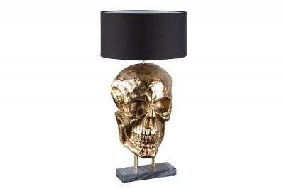 Designová stolní lampa Lebka 76 cm černo-zlatá