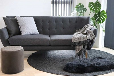 Designová taburetka Kiera, šedý samet