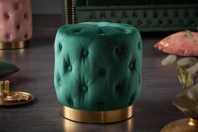 Designová taburetka Rococo 37 cm tmavozelená