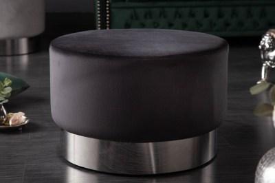 Designová taburetka Rococo 55 cm černá / stříbrná