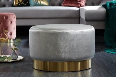 Designová taburetka Rococo 55 cm šedá / zlatá