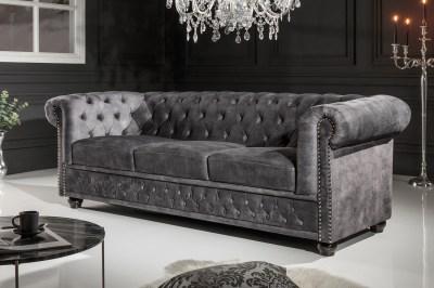Designová trojsedačka Chesterfield 205 cm tmavě šedá