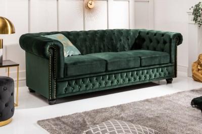Designová trojsedačka Chesterfield 205 cm zelená