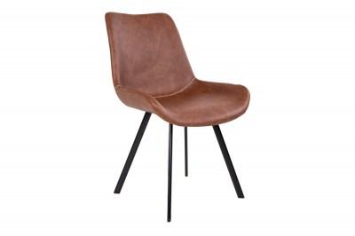 Designová židle Brinley hnědá koženka