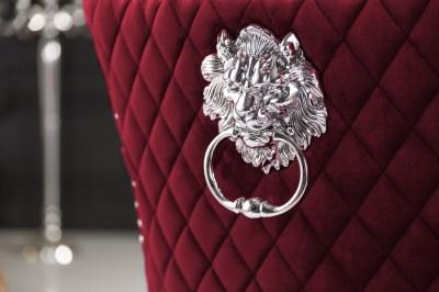 designova-zidle-queen-lvi-hlava-samet-cervena-2