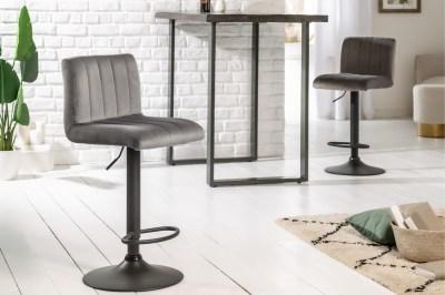 Designová barová židle Walnut šedý samet