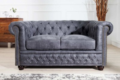 Designová sedačka Chesterfield II 150 cm šedá antik