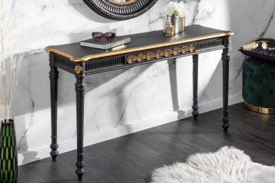 Designová konzola Kathleen 125 cm černo - zlatá