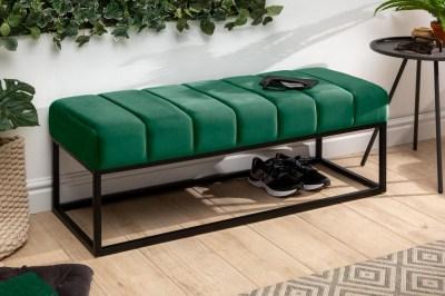 Designová lavice Halle 110 cm samet - smaragdově zelená