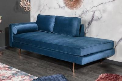 Designová lenoška Evie 196 cm modrý samet