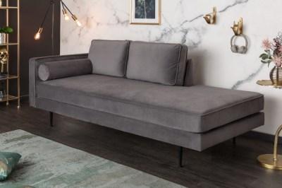 Designová lenoška Evie 196 cm šedý samet