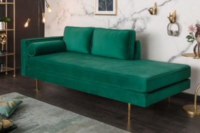 Designová lenoška Evie 196 cm smaragdově zelený samet