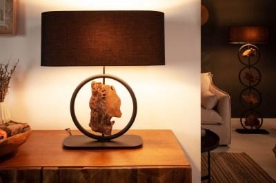Designová stolní lampa Factor 55 cm černá - akácie
