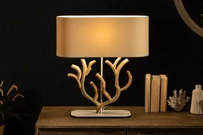 Designová stolní lampa Maleah 58 cm béžová - akácie