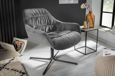 Designové křeslo Bently šedý samet