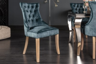 Designová židle Queen samet petrol zelená