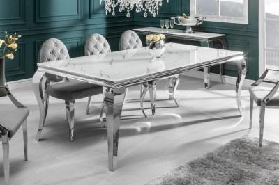 Designový jídelní stůl Rococo 200 cm stříbrný - mramor