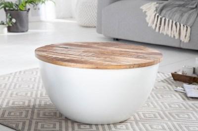 Designový konferenční stolek Malia 70 cm bílý / mango