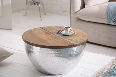 Designový konferenční stolek Malia Orient stříbrný