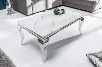 Designový konferenční stůl Rococo 100 cm stříbrný - mramor