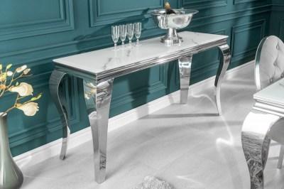 Designový konzolový stůl Rococo 145 cm stříbrný - mramor