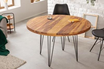 Designový kulatý jídelní stůl Elegant 120 cm Sheesham