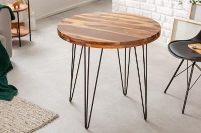 Designový kulatý jídelní stůl Elegant 80 cm Sheesham