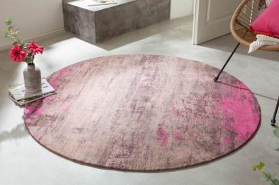 Designový kulatý koberec Rowan 150 cm béžovo-růžový