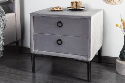 Designový noční stolek Gallia stříbrno-šedý
