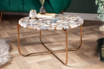 Designový konferenční stolek Tristen 62 cm achát modrý