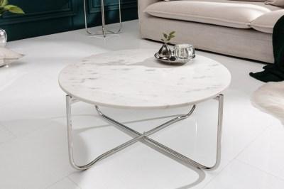 Designový konferenční stolek Tristen 62 cm mramor bílý