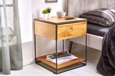 Designový noční stolek Shayla 40 cm divoký dub